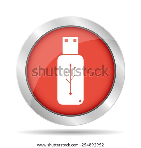 usb icon - vector on a blue flat button.