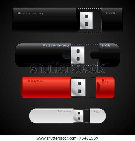 USB Memory Sticks - flash drive vector templates collection - stock vector