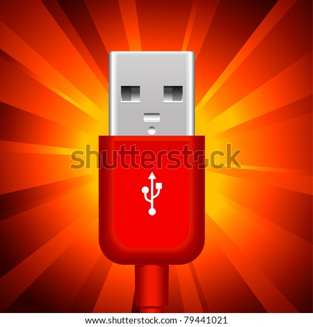 usb plug on shining red background