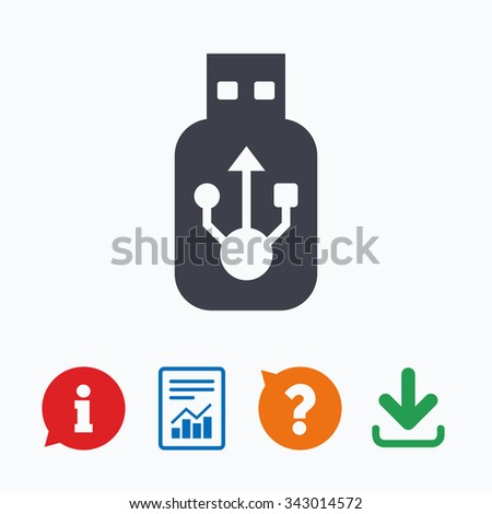 Usb sign icon. Usb flash drive stick symbol. Information think bubble, question mark, download and report. - stock vector