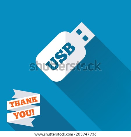 Usb Stick sign icon. Usb flash drive button. White flat icon with long shadow. Paper ribbon label with Thank you text. Vector