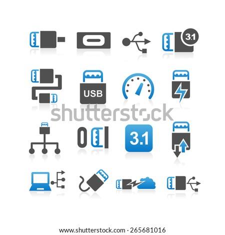 USB 3.1 type C icon set - Simplicity Series - stock vector
