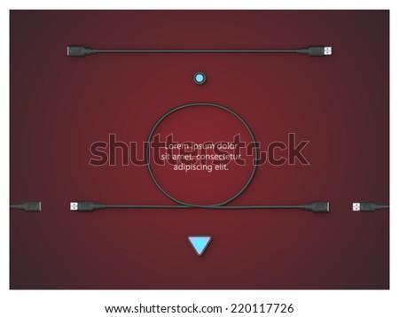 usb wire conceptual composition - stock vector