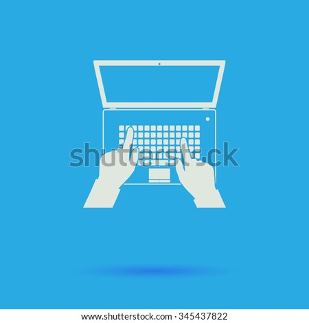 use laptop White flat vector simple icon on blue background with shadow  - stock vector