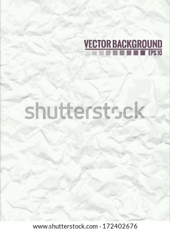 Used, crumbled and folded paper texture, vector EPS10 - stock vector