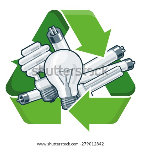 Used light bulbs with green recycling symbol in cartoon style. Isolated vector illustration on white background. Waste Electrical and Electronic Equipment - WEEE concept. - stock vector