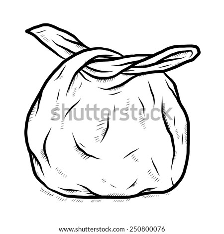 used plastic bag / cartoon vector and illustration, black and white, hand drawn, sketch style, isolated on white background. - stock vector