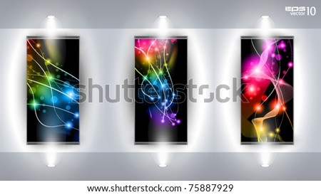 Useful Art Gallery with 3 artistic Background completely editable under clipping mask. - stock vector