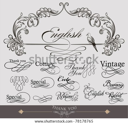 useful calligraphy design set - stock vector