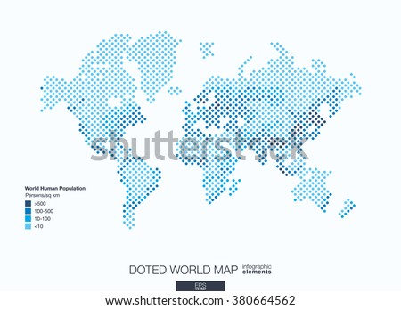 Useful infographic template. Set of graphic design elements: choropleth world map. World human population info. Doted Vector illustration.
