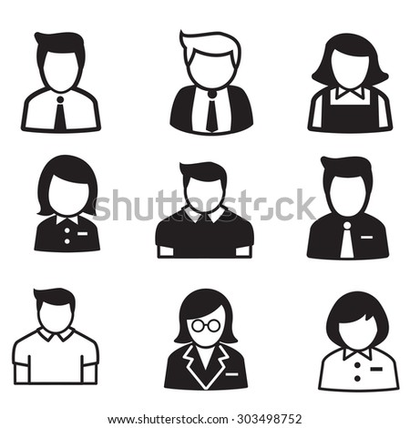 user,account, staff, employee maid icons vector illustration Symbol set - stock vector