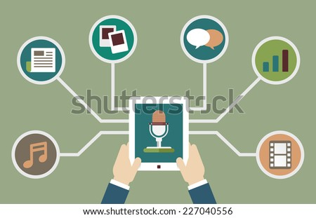 User holding tablet pc with audio podcast with different formats. Subscription as business model. Design flatstyle - vector illustration - stock vector