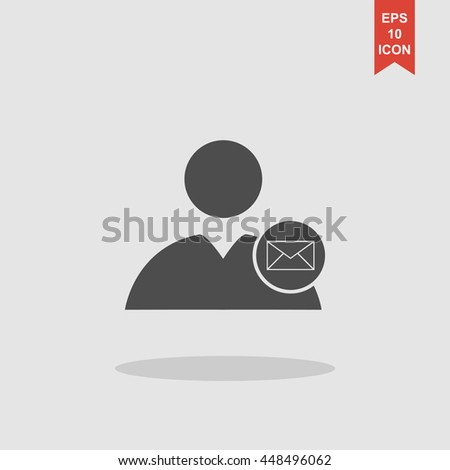 User icon, Envelope Mail icon, vector illustration. Flat design style - stock vector