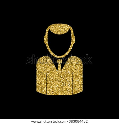 User icon of man in business suit, Gold glitter icon