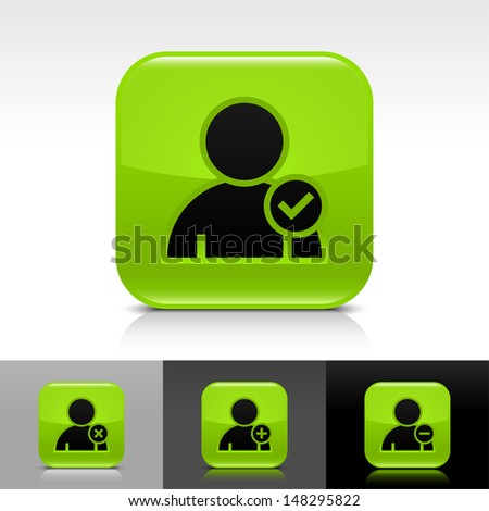 User icon set. Green color glossy web button with black sign. Rounded square shape with shadow, reflection on white, gray, black background. Vector illustration design element 8 eps  - stock vector