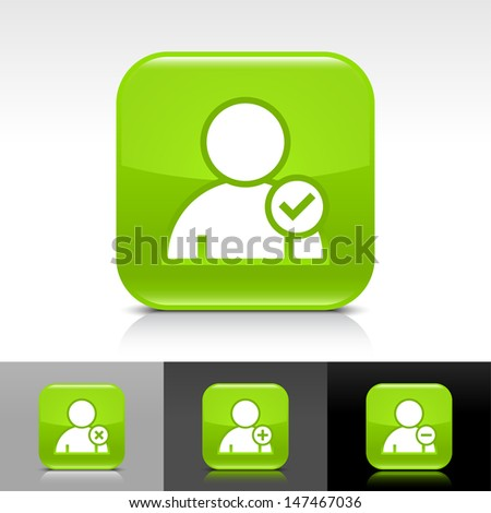User icon set. Green color glossy web button with white sign. Rounded square shape with shadow, reflection on white, gray, black background. Vector illustration design element 8 eps   - stock vector