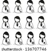 User Icons and People Icons with White - stock vector