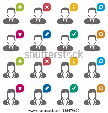 User icons. Businessman and businesswoman - stock vector