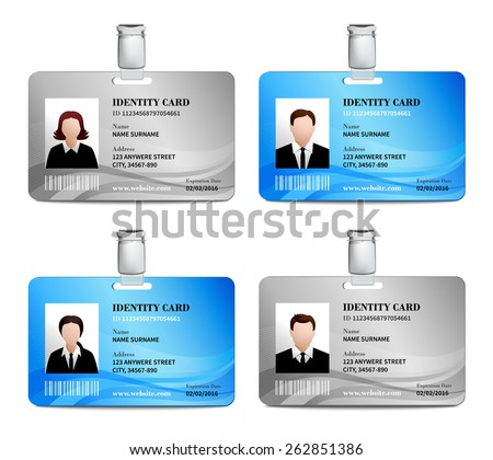 User id card realistic set with male and female photo templates isolated vector illustration - stock vector
