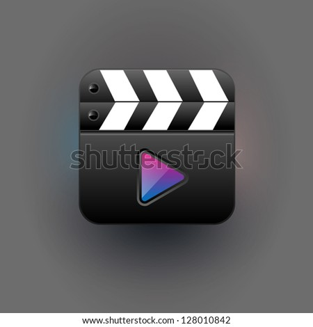 User interface clapboard mediaplayer Icon - stock vector
