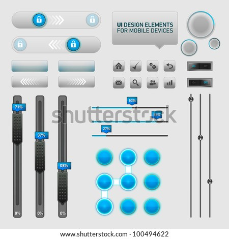 User Interface Design Elements | EPS10 Vector Graphic | Layers Organizes and Named - stock vector