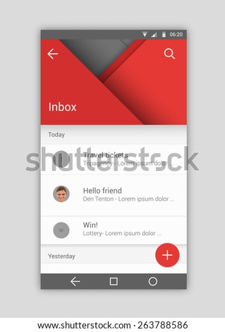 User interface material mobile design template mail app - stock vector