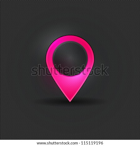 User interface pink map marker - stock vector