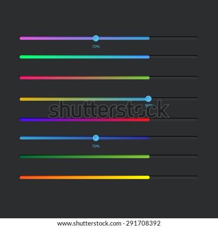 User interface power sliders - stock vector