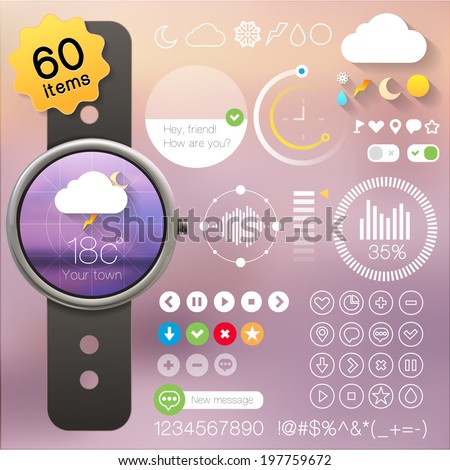 User interface set for clock, watch. Collection of icons and buttons. Eps 10 vector illustration. - stock vector