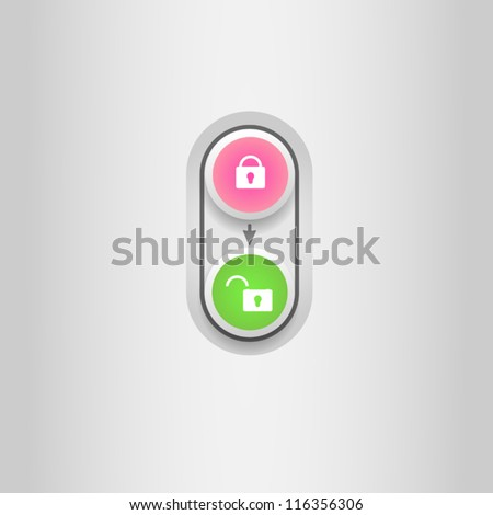 User interface unlock icon - stock vector