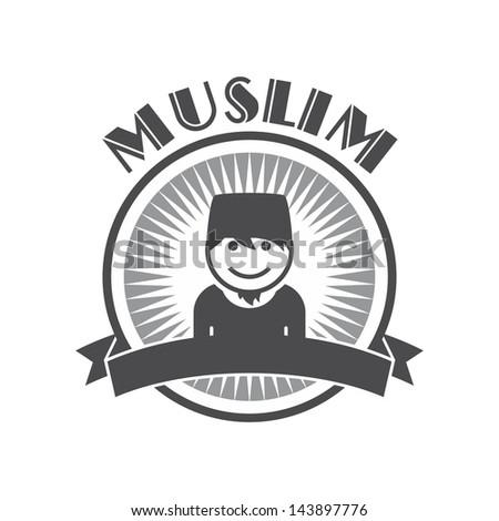 user picture retro muslim guy - stock vector