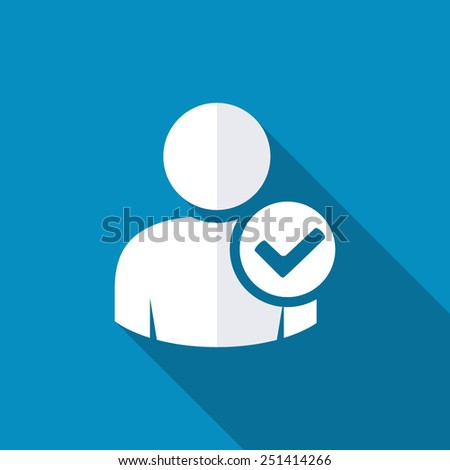 User profile sign web icon with check mark glyph. Vector illustration design element. Modern design flat style icon with long shadow effect - stock vector