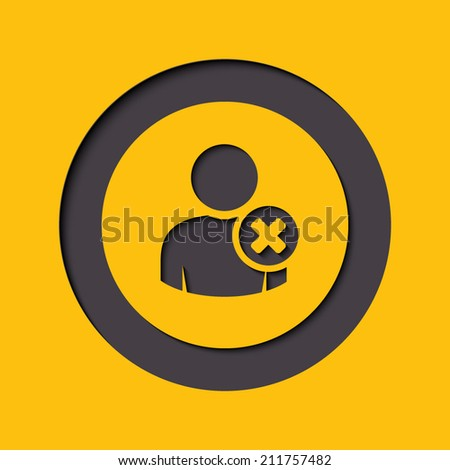 User profile sign web icon with delete glyph. Vector illustration design element eps10 - stock vector