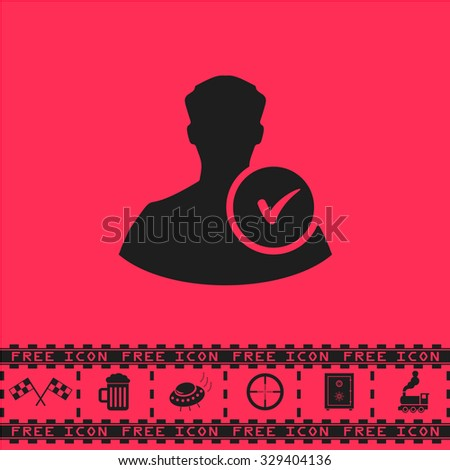 User profile web with check mark glyph. Black flat vector icon and bonus symbol - Racing flag, Beer mug, Ufo fly, Sniper sight, Safe, Train on pink background - stock vector