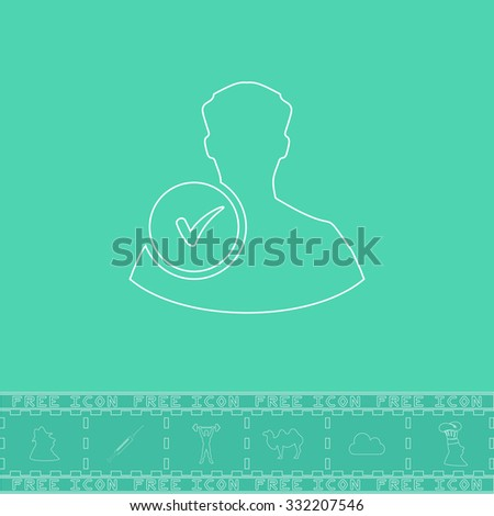 User profile web with check mark glyph. White outline flat symbol and bonus icon. Simple vector illustration pictogram on green background - stock vector