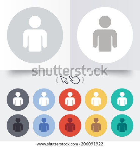 User sign icon. Person symbol. Human avatar. Round 12 circle buttons. Shadow. Hand cursor pointer. Vector - stock vector