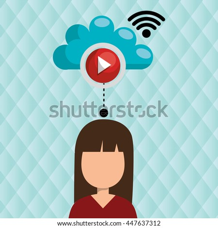 user watching videos in the cloud isolated icon design, vector illustration  graphic  - stock vector