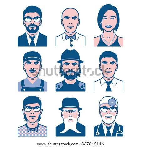 Users avatars. Occupation and people icons. Collection of people avatars for profile page, social network, different age man and woman characters. Vector illustration - stock vector