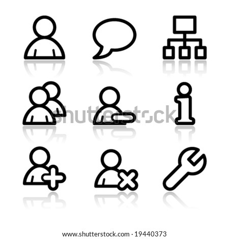 Users black contour web icons V2 - stock vector