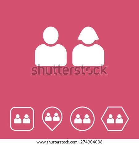 Users Icon on Flat UI Colors with Different Shapes. Eps-10. - stock vector