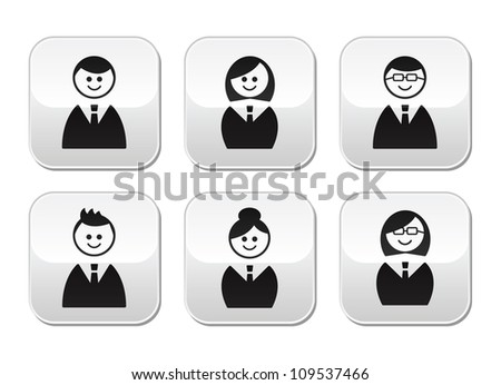 Users icons - glossy buttons set - stock vector