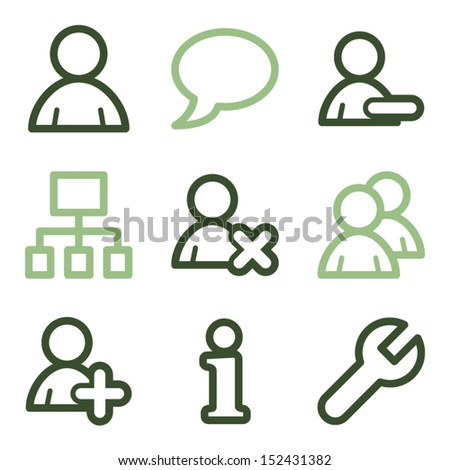 Users icons, green line contour series - stock vector