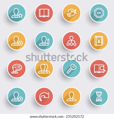 Users icons with color buttons on gray background. - stock vector