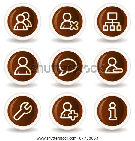 Users web icons, chocolate buttons - stock vector