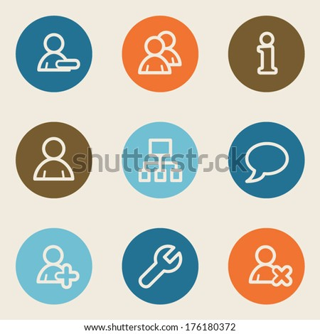 Users web icons , color circle buttons - stock vector