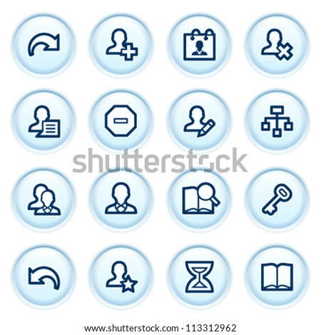 Users web icons on blue buttons. - stock vector