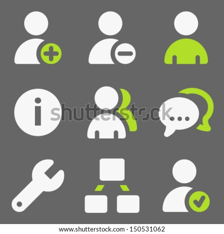 Users web icons, white and green on grey - stock vector