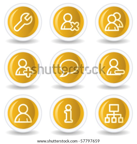 Users web icons, yellow glossy circle buttons - stock vector
