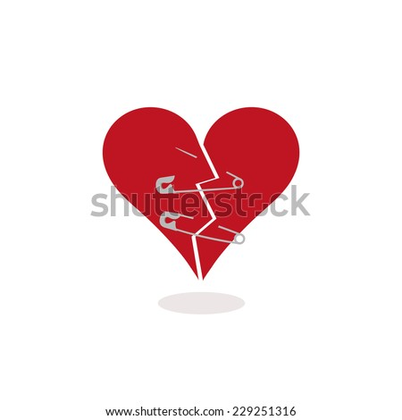 Using Safety Pins to Keep Together a Broken Heart, Concept Illustration. Metaphorically trying to mend a broken in half red heart with two safety pins. One pin is open. Flat design. Vector (EPS) - stock vector
