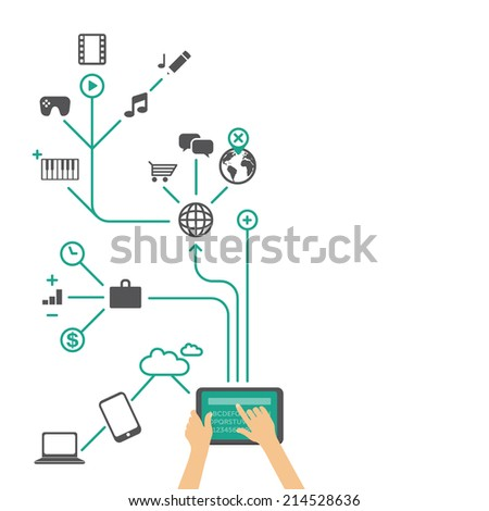 Using tablet for different purposes with copyspace - flat design infographic illustration - stock vector